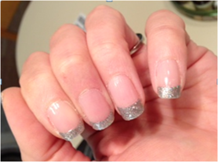 My Silver Sparkle French Mani using Sally Hansen stickers...