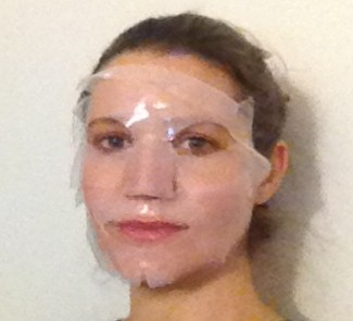 Me in my snail slime mask - trying not to laugh for obvious reasons!